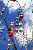 A lot easter eggs on the tree Stock Photos