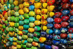 A lot of Easter eggs. Yellow predominates. Stock Image