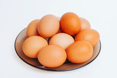 Lot of eggs on the plate Royalty Free Stock Photography