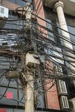 A lot of electrical cables and wires, Kathmandu,Nepal Royalty Free Stock Image