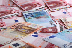 A lot of euro for background. A lot of 10 20 50 euro for background Royalty Free Stock Images