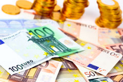 A lot of euro banknotes Royalty Free Stock Photo