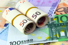 A lot of euro banknotes Royalty Free Stock Photos
