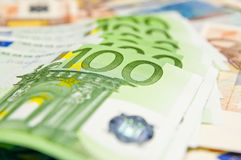 Lot of euro banknotes - large sum of money Stock Photo