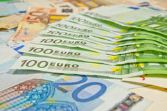 Lot of euro banknotes - large sum of money Stock Photos
