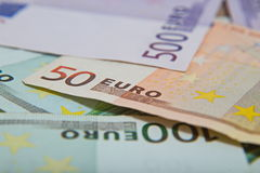 A lot of euro banknotes - large sum of money. Close up Stock Photo