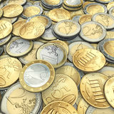 Lot of euro coins Stock Photo
