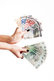 A lot of euro and polish money. A lot of euro and polish banknote Stock Images