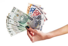 A lot of euro and polish money. A lot of euro and polish banknote Stock Photography