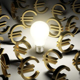 A lot of euro symbols in the dark. See my other works in portfolio Royalty Free Stock Photography