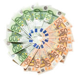 Lot of euros in a circle Royalty Free Stock Images