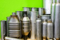 Exhaust pipes repair parts in the spare parts store stock photography