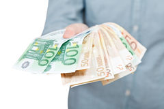 Lot of fanned euro banknotes in hand Royalty Free Stock Photography