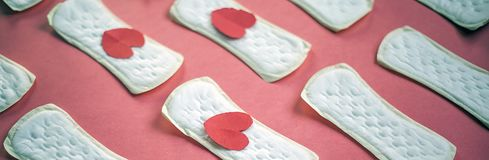 A lot of feminine hygiene or menstrual pads. Sanitary napkins for women. Menstrual concept. Feminine Hygiene or Pads or napkins for women. Menstrual concept stock image