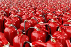 A lot of fire extinguishers. Concept of protection and security royalty free stock photography