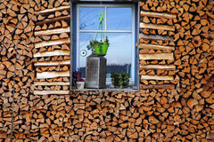 A lot of firewood around a window Royalty Free Stock Images