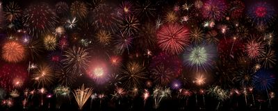 A lot of fireworks on the sky. This is montage from a lot of fireworks Stock Photo