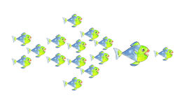 Lot of fishes can defeat a big fish. A lot of fishes can defeat a big fish Royalty Free Stock Photo
