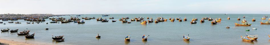 Lot of fishing boats in harbour Stock Photography