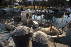 A lot of fishing net in the pier. Villaggio del Pescatore. Italy stock photos