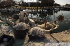 A lot of fishing net in the pier. Villaggio del Pescatore. Italy royalty free stock images