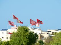 A lot of flags in the small maltese village on summer fest day, Malta Zurieq village, small village in Malta, Zurieq view, flags r. Ecord day in small maltese Stock Images