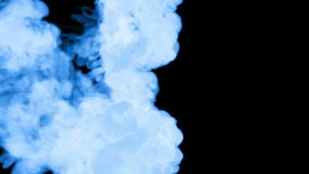 A lot of flows of fluorescent blue ink or smoke, isolated on black in slow motion. Blue colour drop in water. Use for stock video footage