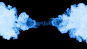 A lot of flows of fluorescent blue ink or smoke, isolated on black in slow motion. Blue colour pours in water. Use for stock footage