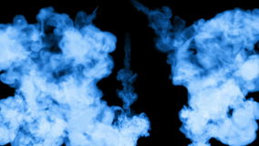A lot of flows of fluorescent blue ink or smoke, isolated on black in slow motion. Blue pigment spread in water. Use for stock footage