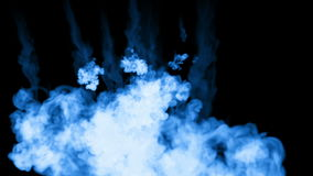 A lot of flows of fluorescent blue ink or smoke, isolated on black in slow motion. Blue tint flow in water. Use for ink stock footage