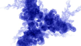 A lot of flows of isolated blue ink injects. Blue colour mixes in water , shot in slow motion. Use for inky background stock footage