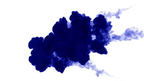 A lot of flows of isolated blue ink injects. Blue gouache mix in water , shot in slow motion. Use for inky background or stock footage