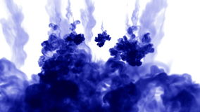 A lot of flows of isolated blue ink injects. Blue paint swirls in water , shot in slow motion. Use for inky background. Or backdrop with smoke or ink effects stock video footage