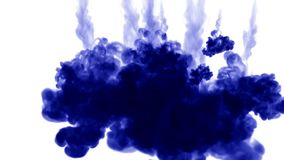 A lot of flows of isolated blue ink injects. Color mixes in water , shot in slow motion. Use for inky background or. Backdrop with smoke or ink effects, alpha stock footage