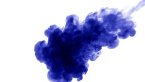 A lot of flows of isolated blue ink injects. Blue tint spread in water , shot in slow motion. Use for inky background or. Backdrop with smoke or ink effects stock video