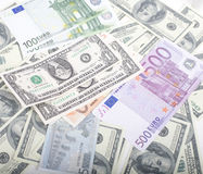 Lot fo americans dollars cash background, diverse money worldwide Royalty Free Stock Photo
