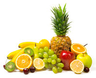 Lot of fresh fruits isolated Royalty Free Stock Photography