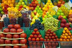 Lot of fresh fruits and vegetables for sale Stock Image