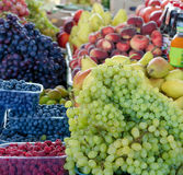 Various fruits on  market counter Royalty Free Stock Photo