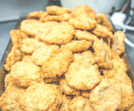 A lot of fresh shrimp cake after deep frying on the tray in thai restuarant,in USA.. Royalty Free Stock Photo