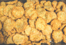 A lot of fresh shrimp cake after deep frying on the tray in thai restuarant,in USA.. Royalty Free Stock Photos