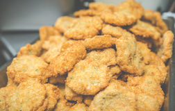A lot of fresh shrimp cake after deep frying on the tray in thai restuarant,in USA.. Stock Photo