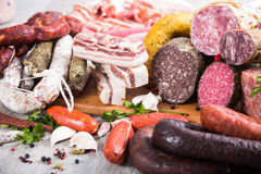 A lot of Fresh smoked sausages Royalty Free Stock Image