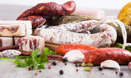 A lot of Fresh smoked sausages Royalty Free Stock Photos