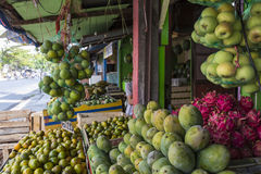 A lot of fresh, tropical fruits, at a market, bazaar in Yogjakar Royalty Free Stock Photos