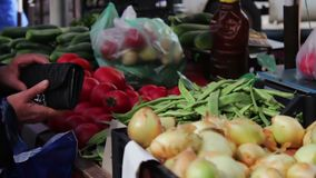 Lot of fresh vegetables on the market counter. Buyers look at the choice of fresh tomatoes, potatoes, peppers, beans stock video footage