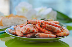 A lot of fried tiger prawns on a plate Stock Image