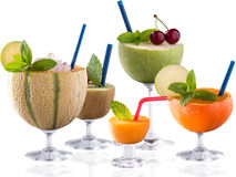 Lot of fruit cocktail on the glass Royalty Free Stock Photography