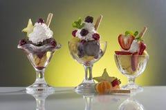 Lot of fruit sundae for menu card. Lot of fruit sundae, on colorful background stock images