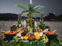 A lot of fruits in table organized with human form. Design. Outside. Party stock photography